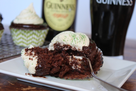 Irish Car Bomb Cupcakes: Guinness Chocolate Cupcakes with Jameson Ganache and Bailey's Buttercream Frosting | If You Give A Blonde A Kitchen